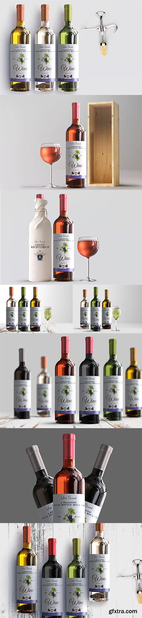 Realistic Wine Bottle Label Mockup Pack