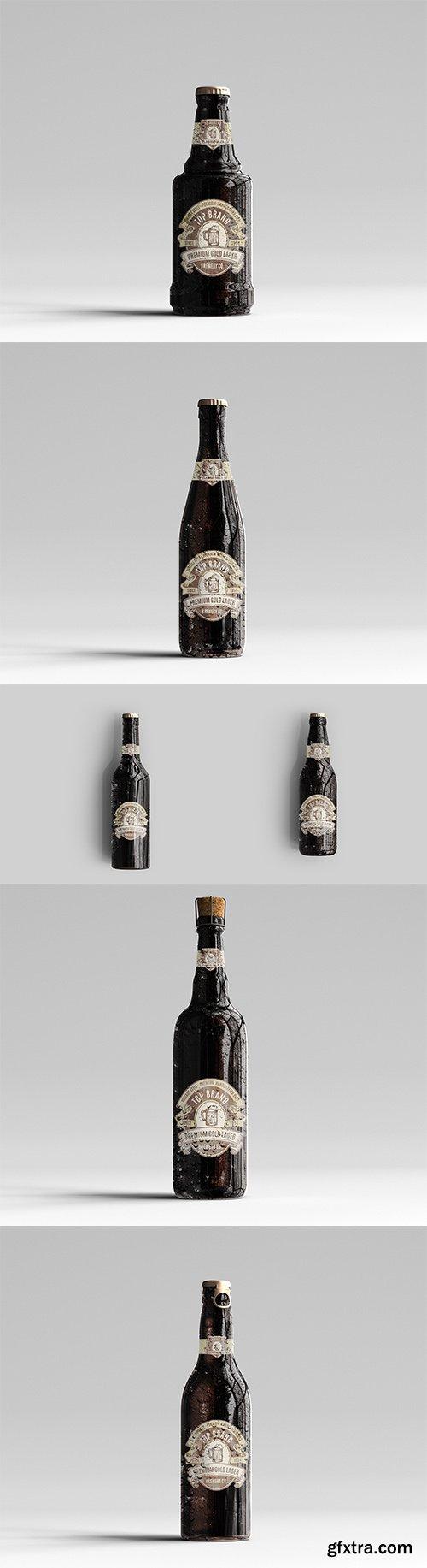 Amber Glass Beer Bottle Mockup Pack