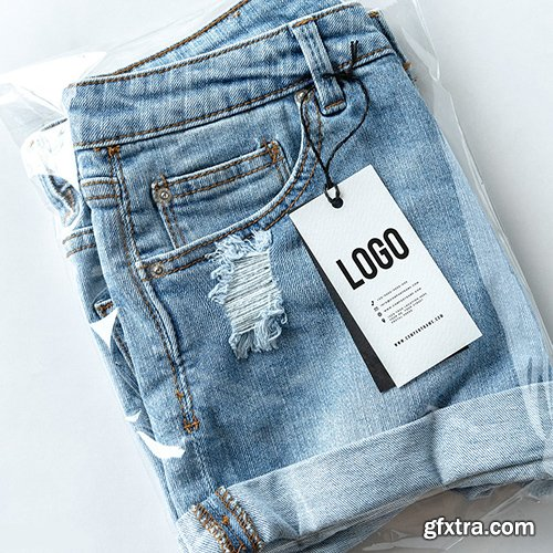 Ripped jean shorts with a tag mockup 531696