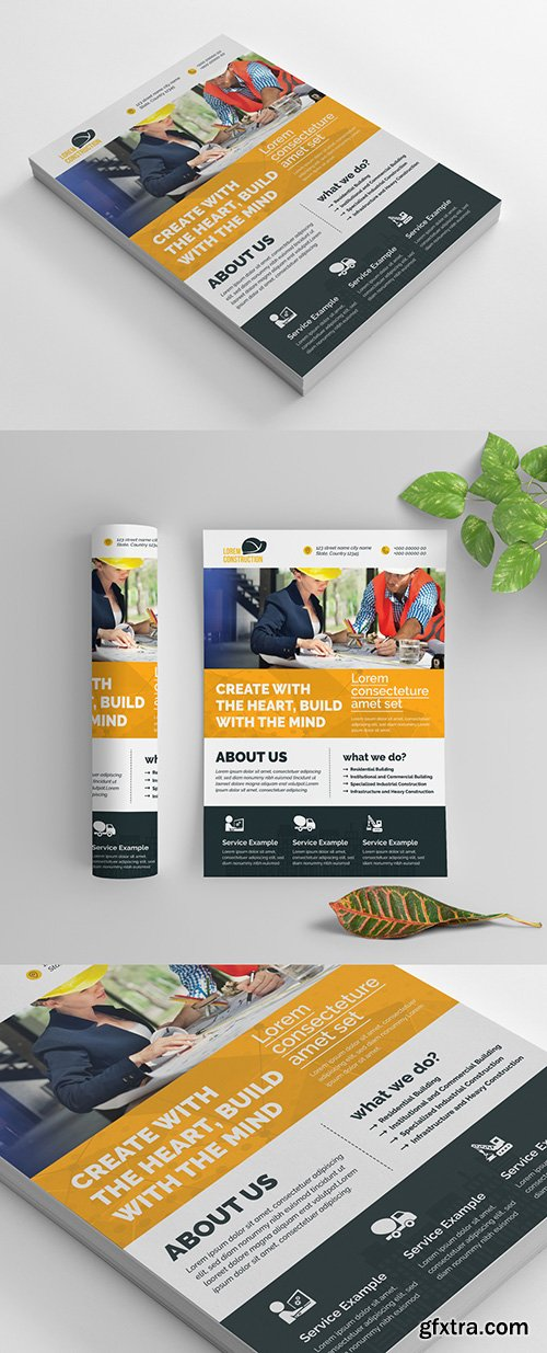 Construction Work Flyer Layout with Bold Stripes 270465632