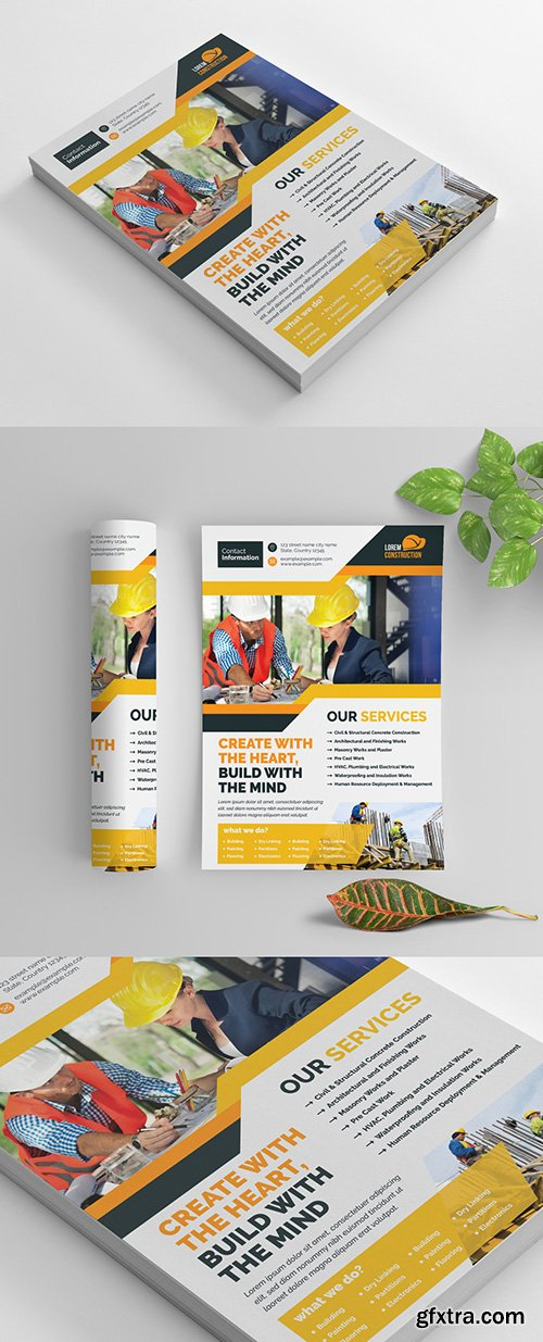 Construction Themed Flyer Layout with Yellow and Orange Accents 270464624