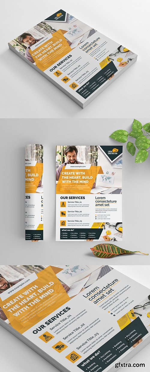 Clean Corporate Flyer Layout with Orange Accents 270464556