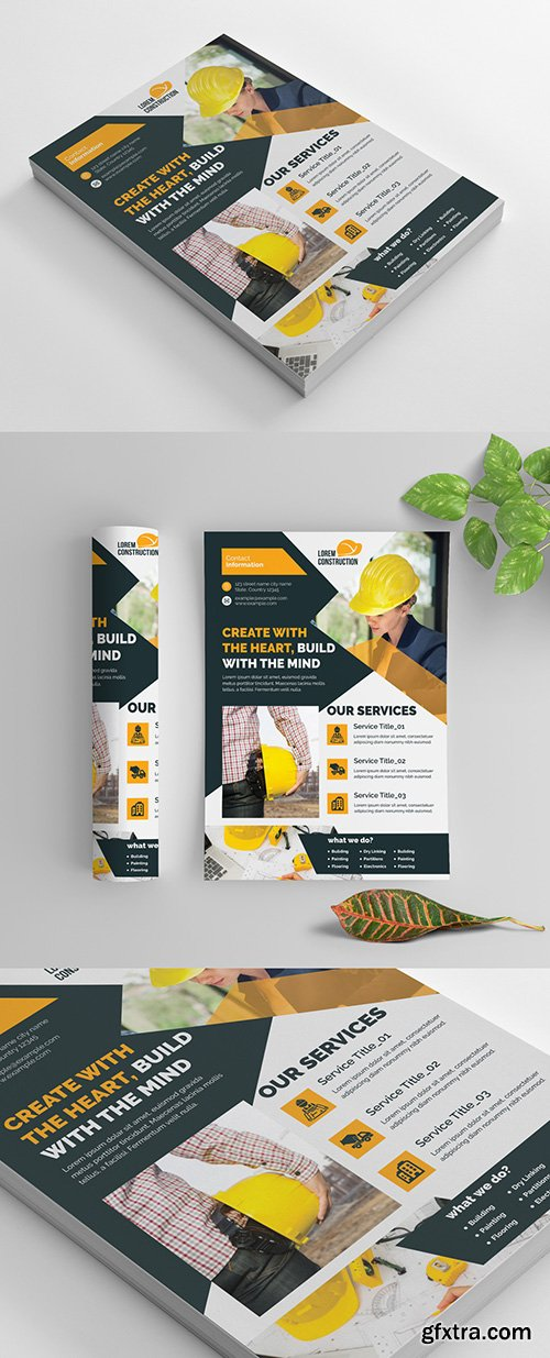Construction Flyer Layout with Layered Photo Elements 270464924