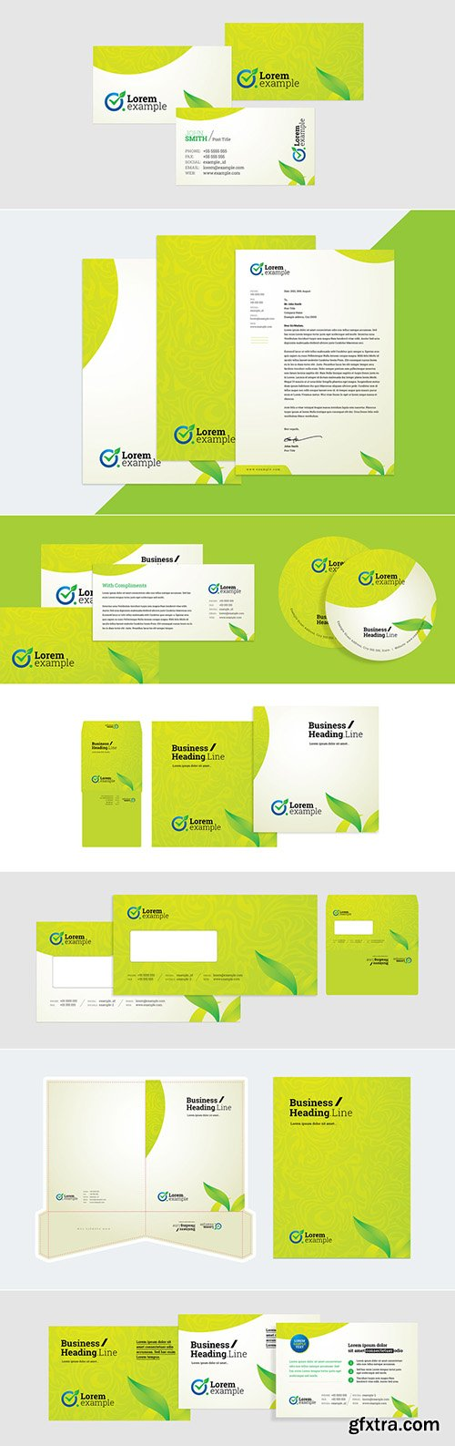 Green Corporate Identity Stationery with Green Floral Design Layout 270657007