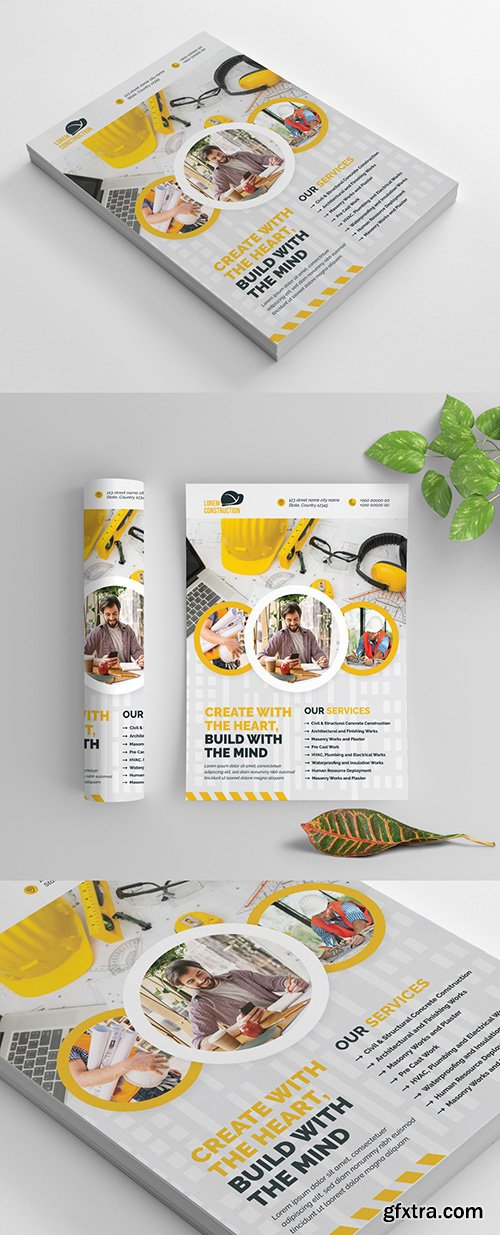 Building Flyer Layout with Yellow Accents and Circular Photo Elements 270465749