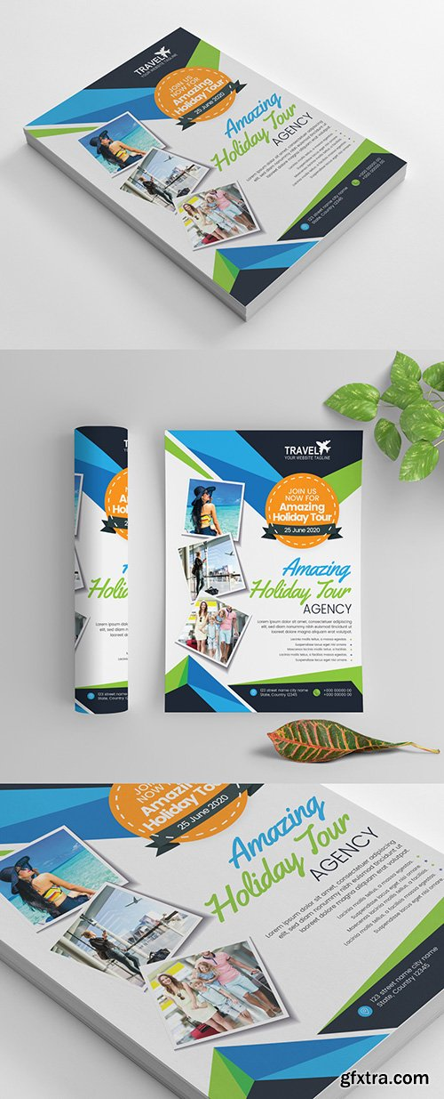 Travel Themed Flyer Layout with Snapshot Elements 270465748