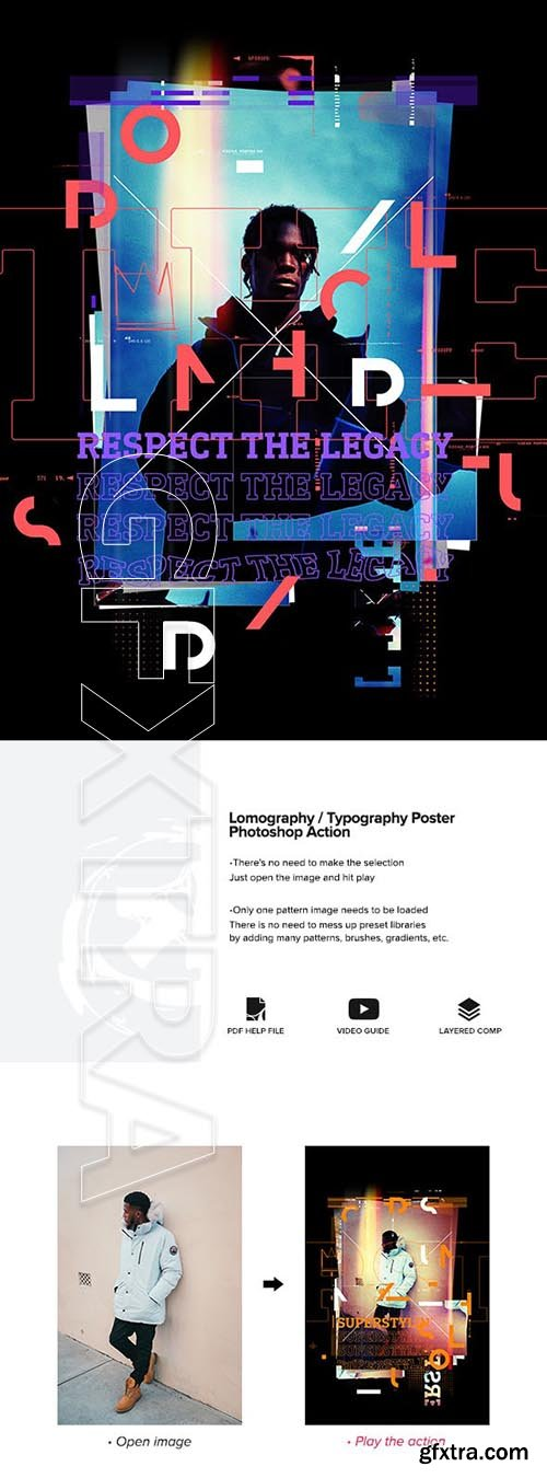 GraphicRiver - Lomography Typography Poster Photoshop Action 24518011