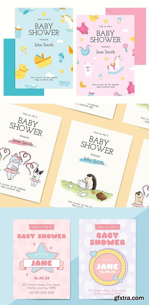 Cute Baby Shower Invitation Card Templates Set