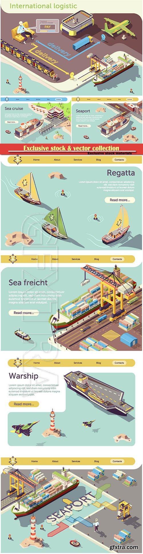 Online International Logistic Infographic Banner