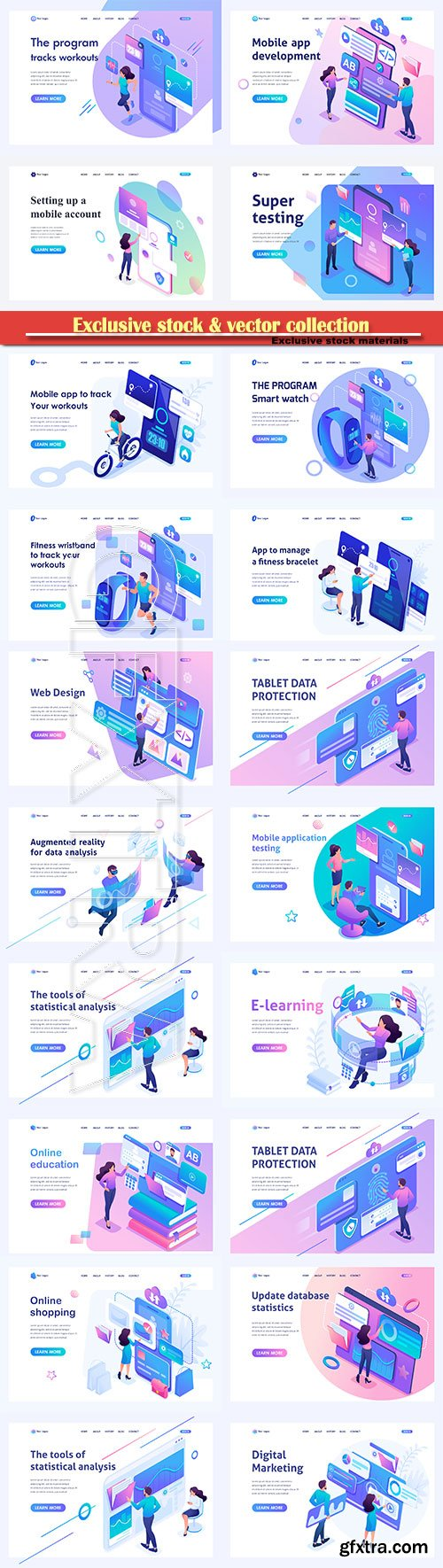 Set isometric landing pages, concept mobile application testing