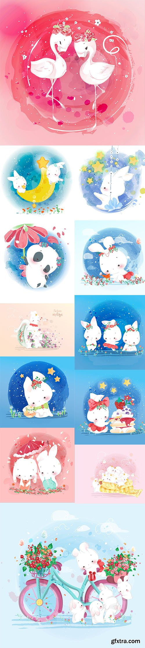 Hand Draw Lovely Cute Watercolor Animal Pack 1
