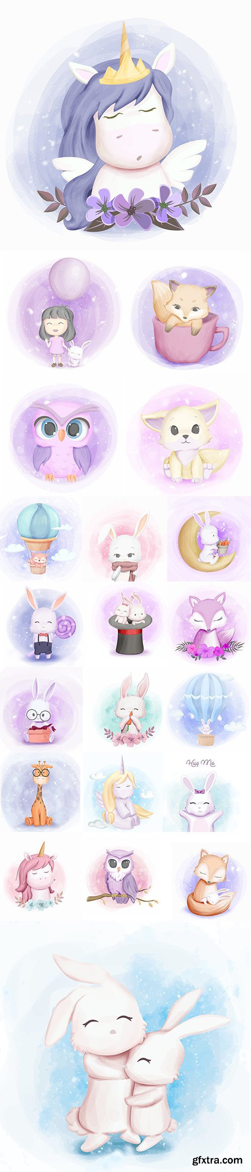 Hand Draw Lovely Cute Watercolor Animal Pack 4
