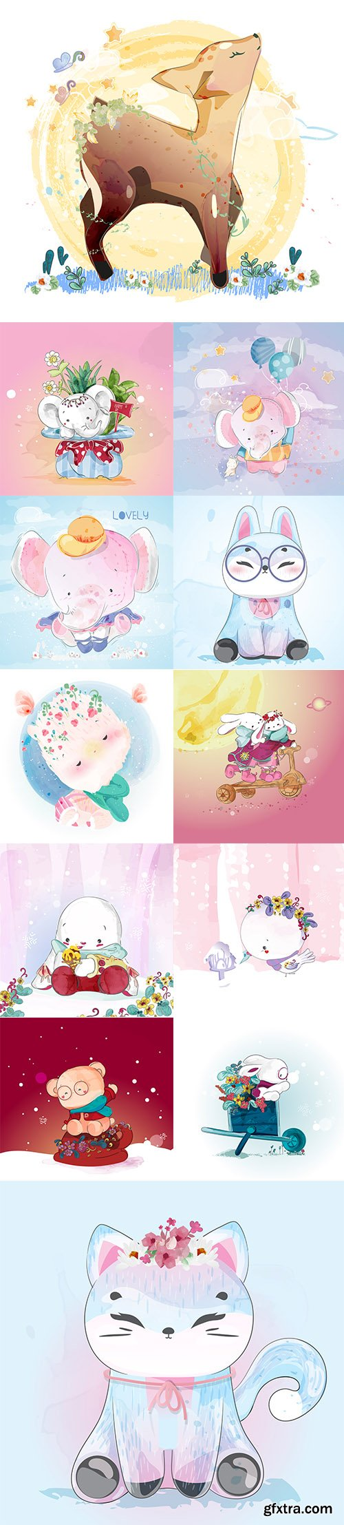 Hand Draw Lovely Cute Watercolor Animal Pack 2