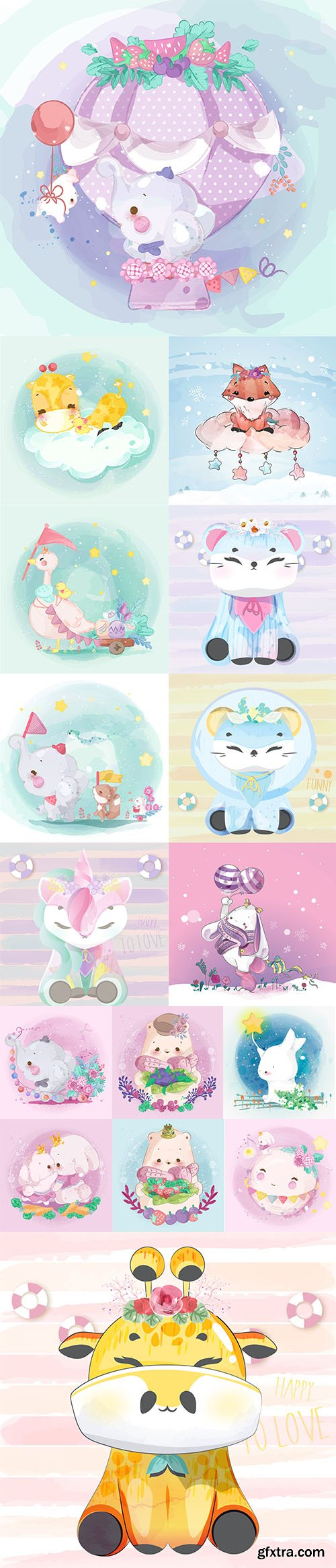 Hand Draw Lovely Cute Watercolor Animal Pack 3