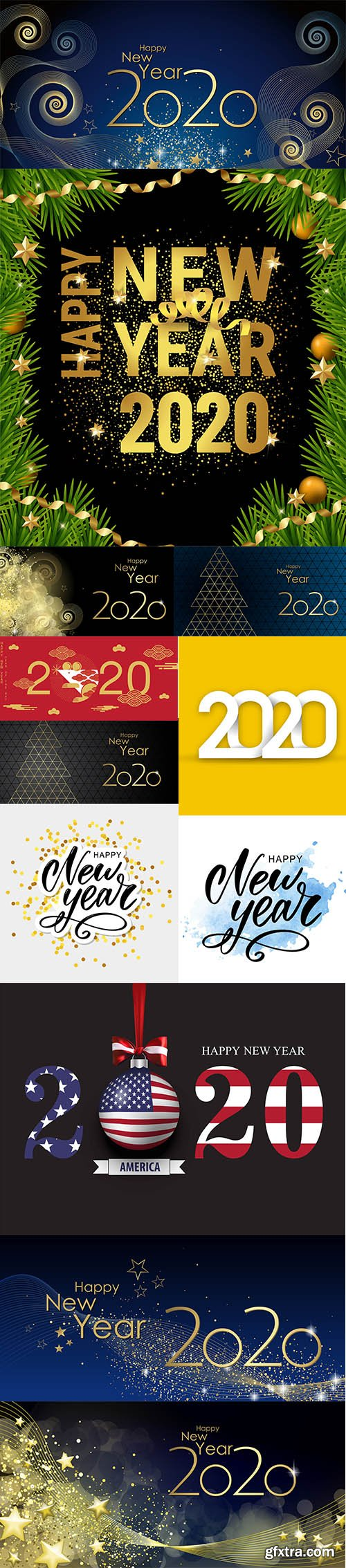 Merry Christmas and Happy New Year 2020 Illustrations Set 4