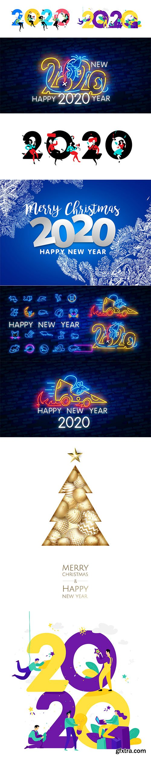 Merry Christmas and Happy New Year 2020 Illustrations Set 1