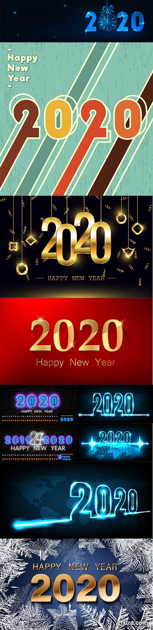 Merry Christmas and Happy New Year 2020 Illustrations Set 2