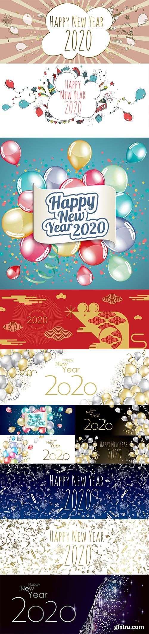 Merry Christmas and Happy New Year 2020 Illustrations Set 3