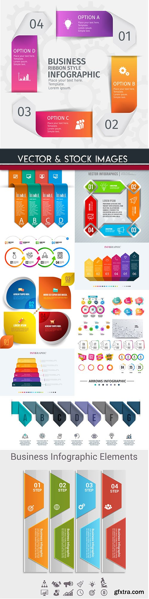 Business infographics options elements collection 96