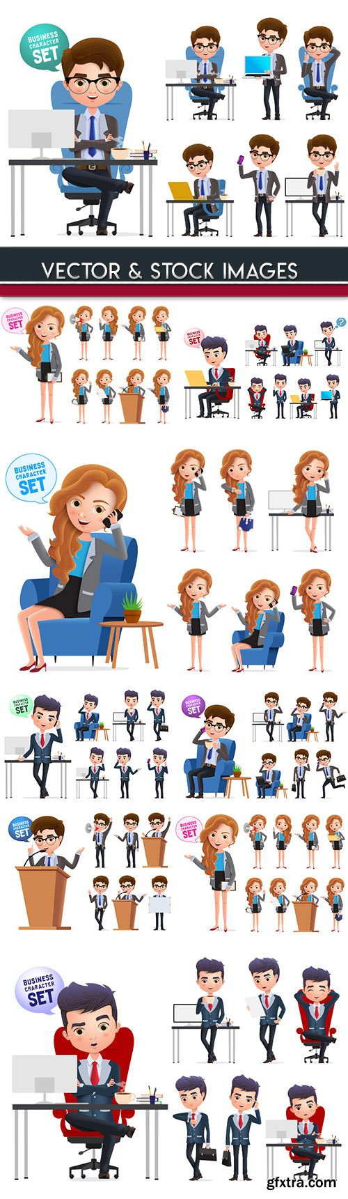 Business girl and man in office mult illustration