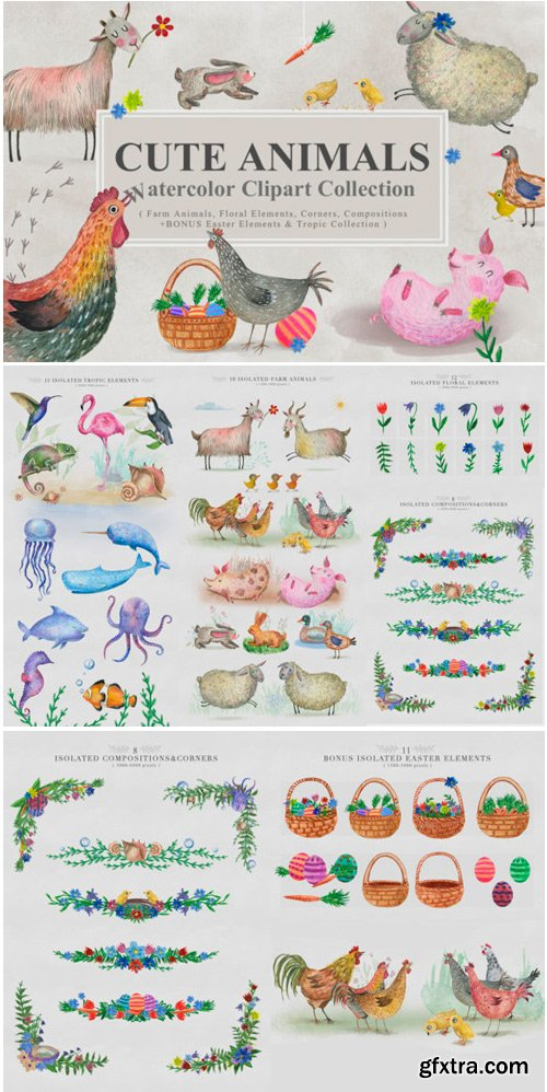 Cute Animals Watercolor Collection 1764680