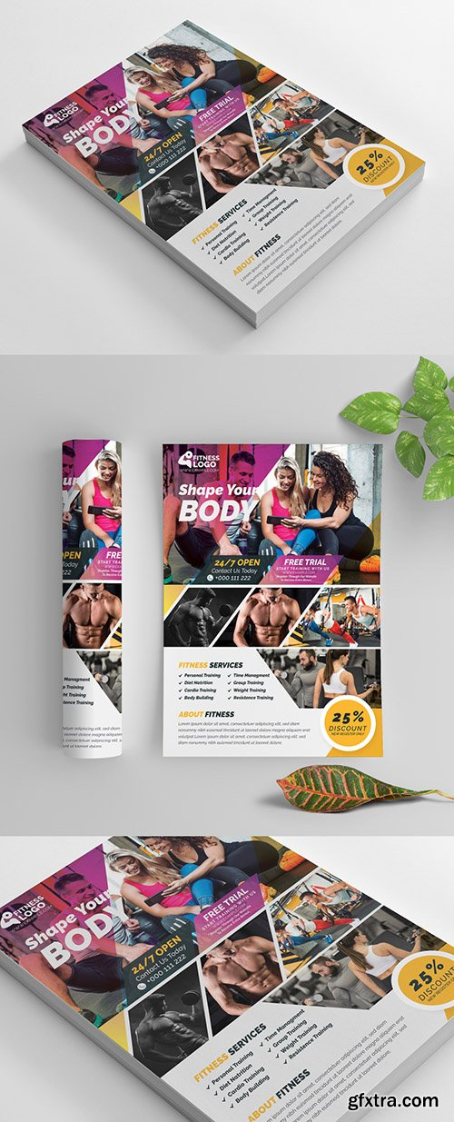 Fitness Flyer Layout with Purple and Yellow Accents 269583900