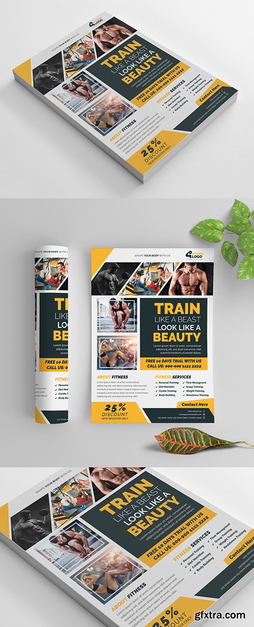 Fitness Flyer Layout with Yellow Accents 269583915