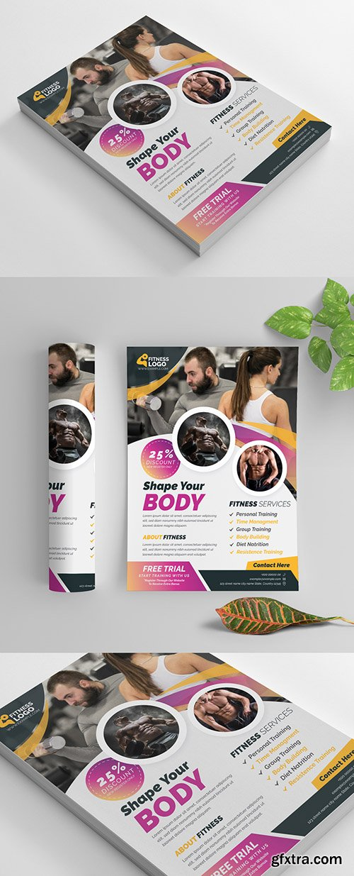 Fitness Flyer Layout with Yellow and Pink Gradient Accents 270464320