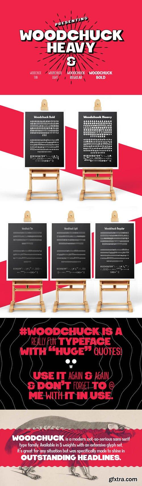 Woodchuck - Sans Serif Font Family (5-Weights)
