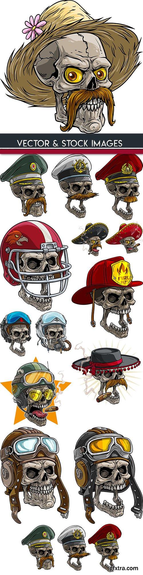 Skull grunge cartoon tattoo Halloween illustration