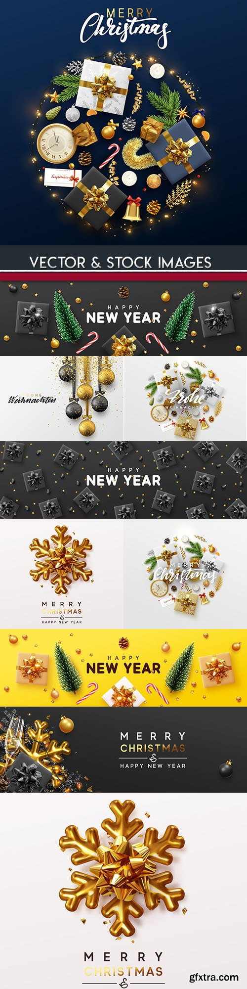 New Year and Christmas decorative design illustration