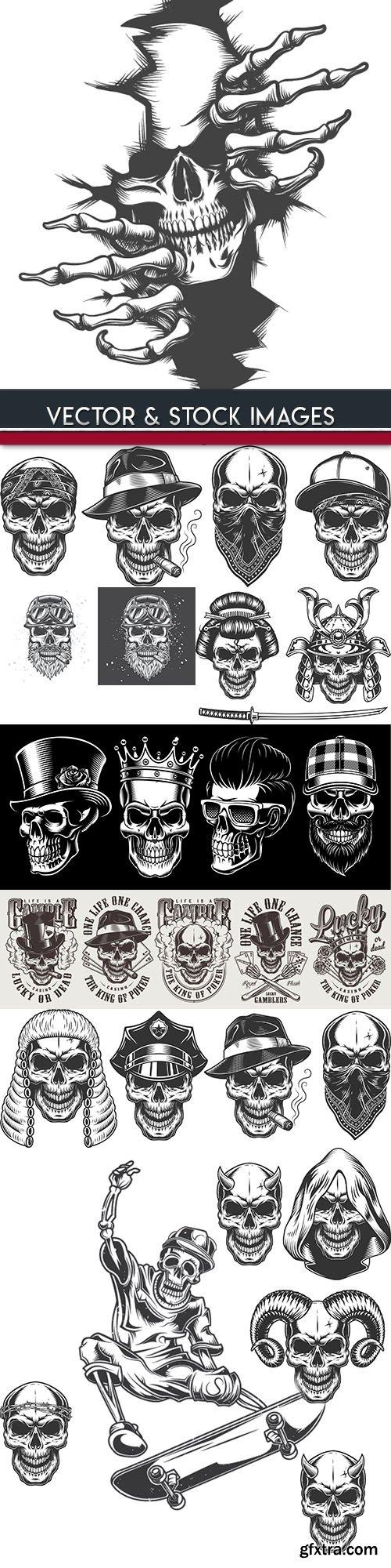 Skull and accessories grunge label drawn design 5