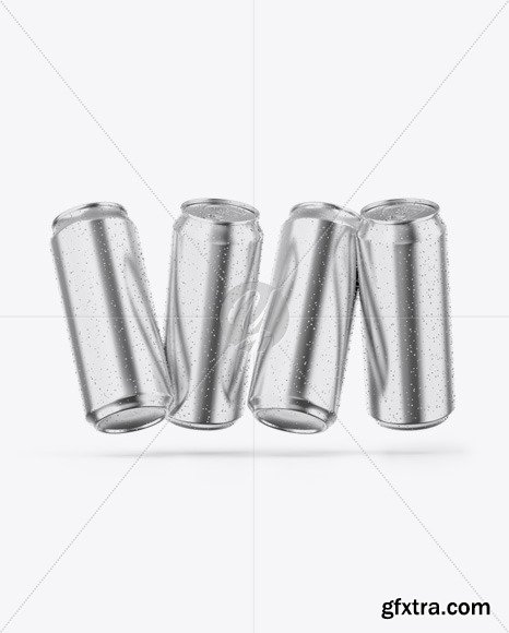 Four Glossy Metallic Cans Mockup 48744