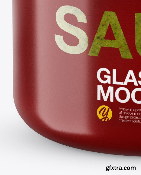 Glass Pesto Sauce Jar in Shrink Sleeve Mockup 48737
