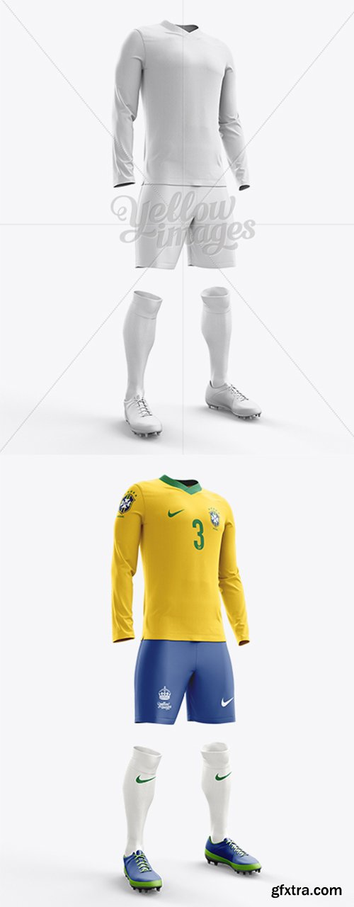 Football Kit with V-Neck Long Sleeve Mockup / Half-Turned View 10674