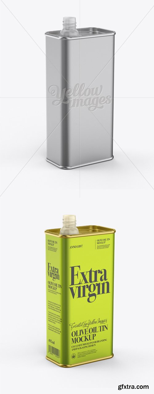 Opened Olive Oil Tin Can Mockup - Half-Side View 12322