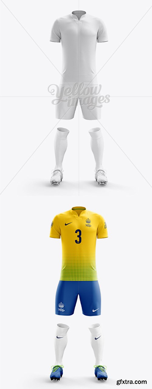 Men's Full Soccer Kit with V-Neck Shirt Mockup (Front View) 13510