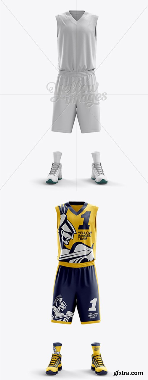 Basketball Kit w/ V-Neck Tank Top Mockup / Front View 10977
