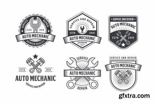 Set of Automotive Mechanic Logo Badge