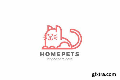 Cat Logo Home Pets Linear design