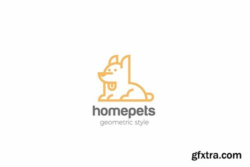 Dog Logo Home pets Linear style