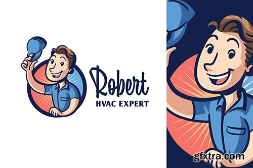 Cartoon Retro Vintage HVAC Character Mascot Logo
