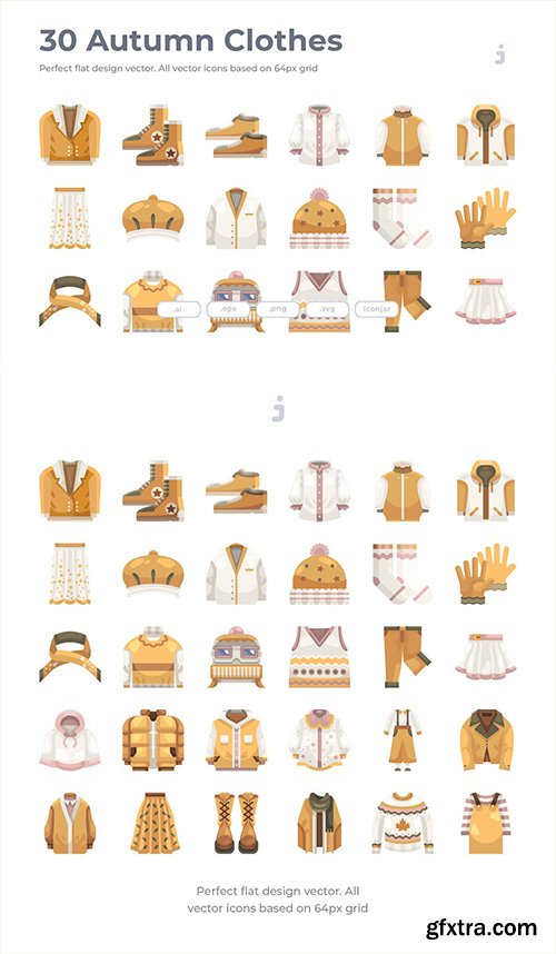 30 Autumn Clothes Icons - Flat