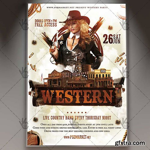 Western party - Premium flyer psd template