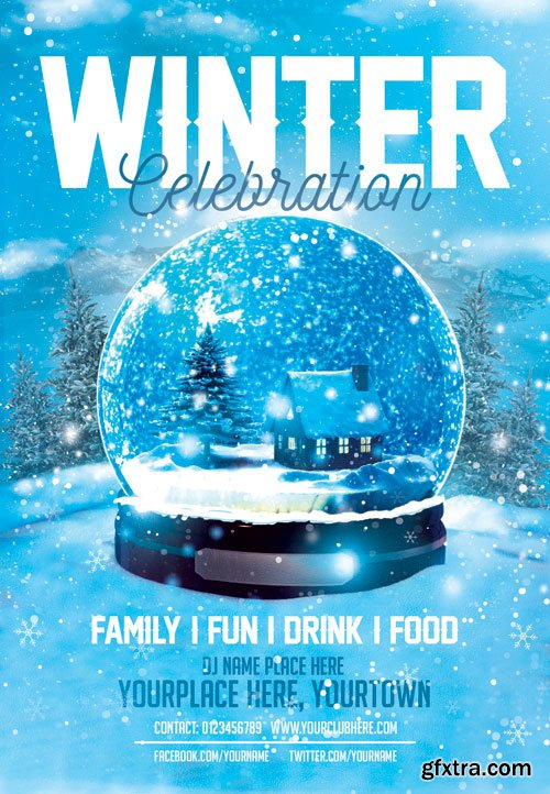 Winter celebration - Premium flyer psd template