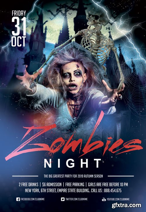 Zombie night - Premium flyer psd template