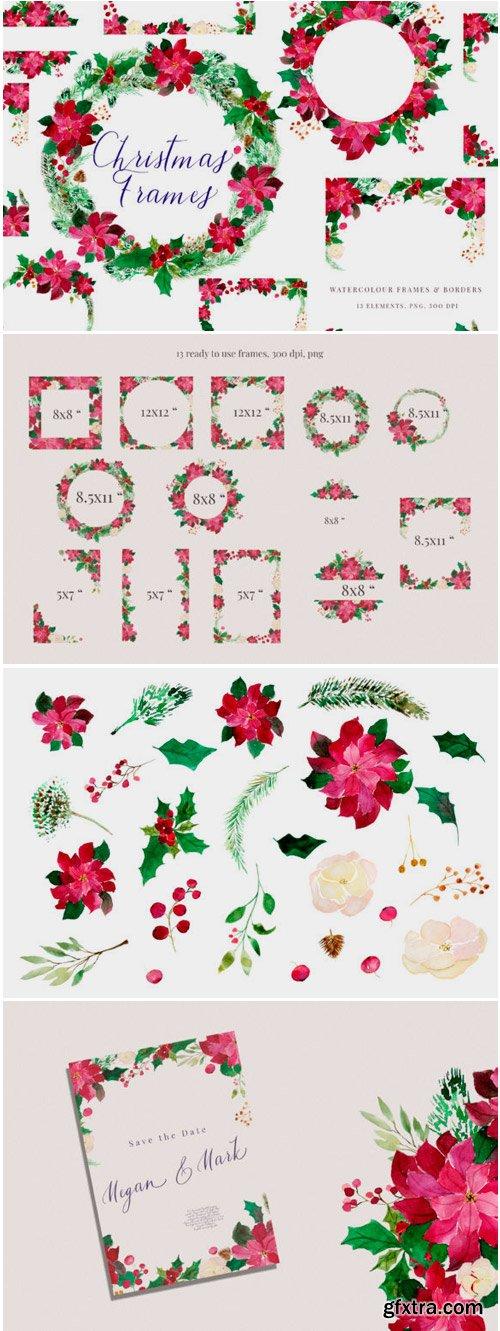 Christmas Watercolour Frames with Poinsetia 1771801