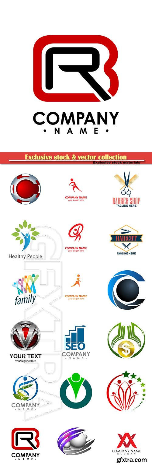Logo vector template business set # 84