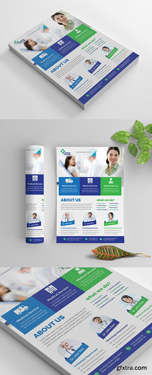 Colorful Medical Flyer Layout with Service Details 269035371
