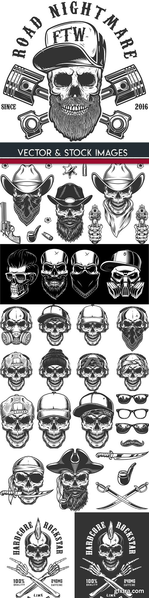 Skull and accessories grunge label drawn design 6